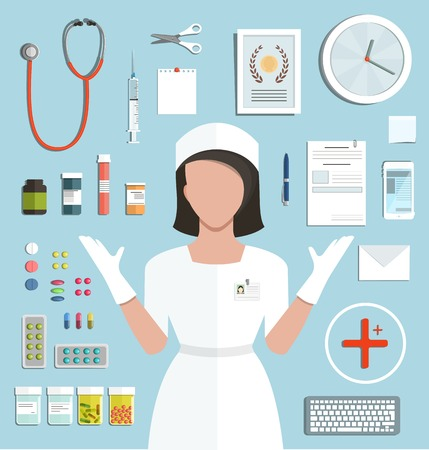 pediatric: Doctor with Pills  Medications Bottles. Medicine flat style illustration with a nurse objects collection. Vector EPS10.