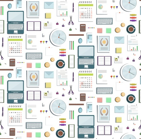 Seamless Pattern Office Supplies Flat Colored Business Wallpaper. Business objects tileable background. Use any backdrop color. Vector design.