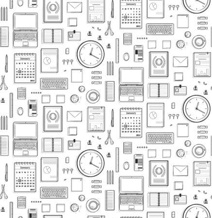 Seamless Pattern per ufficio piatto monocromo nero Lines? Affari oggetti in bianco e nero di sfondo. Disegno vettoriale.