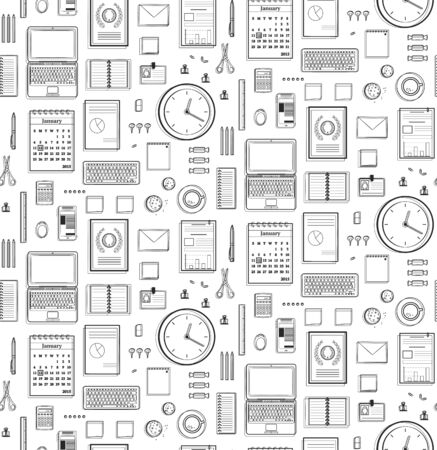 Seamless Pattern Office Supplies Flat Monochrome Black Linesю Business black and white objects background. Vector design.