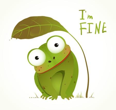 緑の赤ちゃんカエル幼稚な動物楽しい漫画