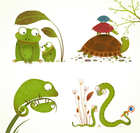 Cartoon Reptile Animals Parent with Baby Collection Illustration