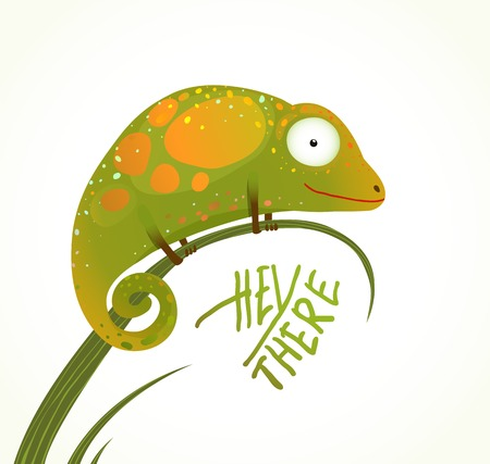 chameleon lizard: Colorful Lizard Childish Animal Fun Cartoon with Sign Hey There