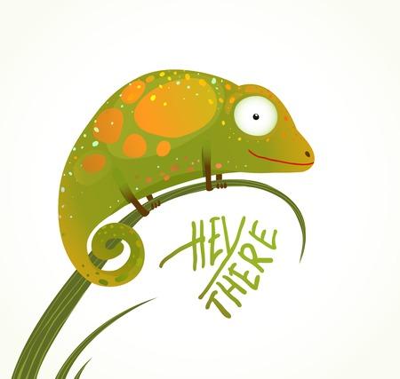 lagartija: Colorido Lagarto Childish Animal Diversi�n historieta con la muestra Hola