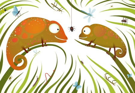 Two Childish Colorful Lizards with Insects in Grass