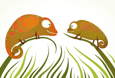 Two Colorful Lizards Sitting on Grass Background Staring