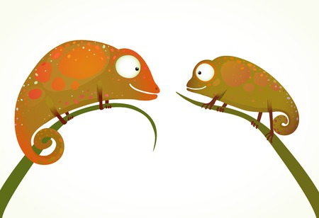 anuran: Two Colorful Lizards Sitting on Grass Animal Cartoon