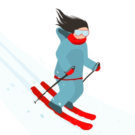 sporty: Young Sporty Girl Skiing Downhill in Mountains