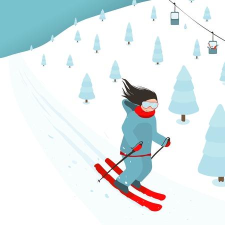 narciarz: Młoda dziewczyna Jasno Wyposażony Slajdy z Mountain Slope
