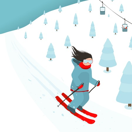 skier: Young Brightly Equipped Girl Slides from Mountain Slope Illustration