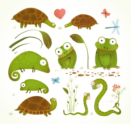 Cartoon Green Reptile Animals Childish Drawing Collection Vettoriali