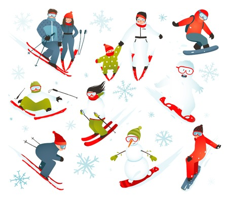 skier: Skier Snowboarder Snowflakes Winter Sport Collection