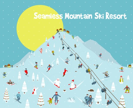 skiing: Cartoon Mountains Skyline Ski Resort Seamless Border Pattern Illustration