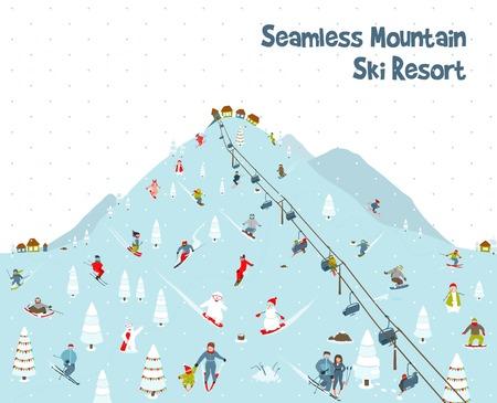 Cartoon Mountain Ski Resort Seamless Border Pattern Vector