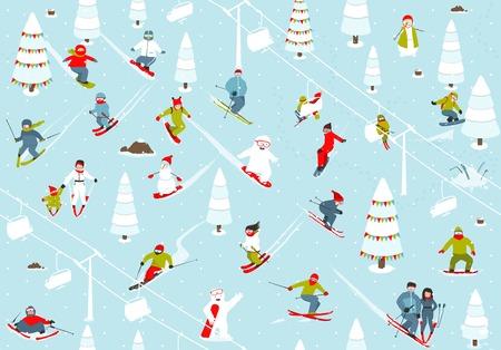 cartoon mountain: Cartoon Mountain Ski Resort Seamless Pattern