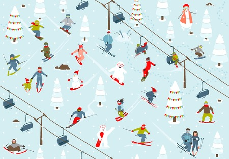 downhill skiing: Ski Resort Seamless Pattern with Snowboarders and Skiers