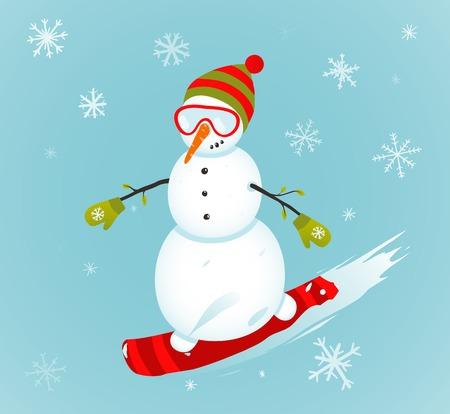 snowboarder: Snowman and Snowboard Winter Sport Illustration