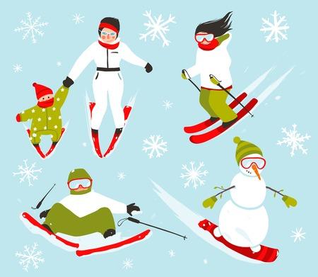 winter sport: Skier Snowboarder Snowflakes Winter Sport Set Illustration