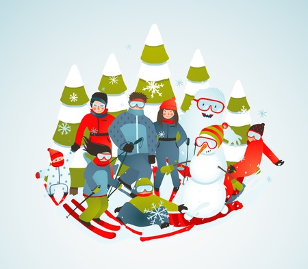 skiers: Cheerful Sporty Group of Skiers Snowboarders and Winter Trees Cartoon