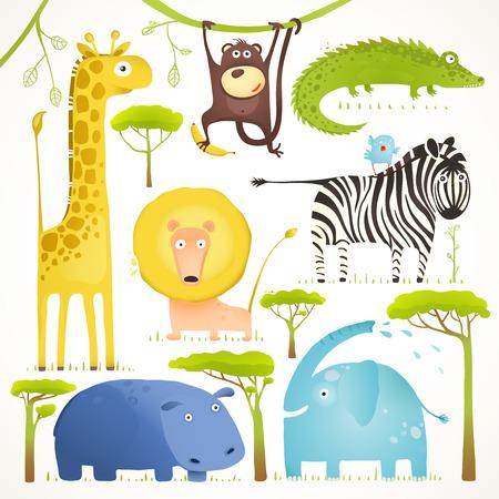 아프리카 동물 재미 만화 아트 컬렉션 클립. 밝은 유치 아프리카 동물 설정 색깔. 벡터 일러스트 레이 션 EPS10.