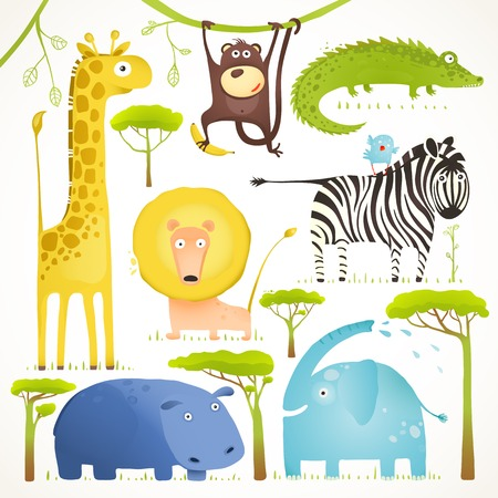African Animals Fun Cartoon Clip Art Collection. Brightly colored childish african animals set. Vector illustration EPS10.