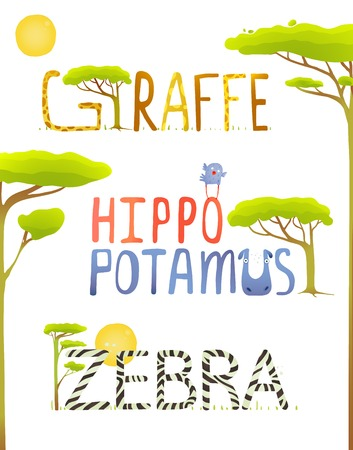 brightly: African Animals Hippopotamus Giraffe Zebra Fun Lettering. Brightly colored childish cartoon signs. Vector illustration EPS10 Illustration