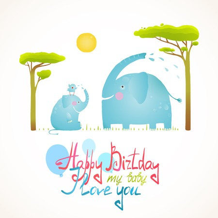 Cartoon African Elephants Bathing Happy Birthday Card. Brightly colored elephant child and mom. Vector illustration EPS10.