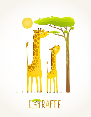 Fun Cartoon African Giraffe Animals Eating Foliage. Brightly colored giraffe child and mom. Vector illustration EPS10.