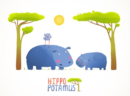 Fun Cartoon Mother and Child African Hippopotamus. Brightly colored animals parent and baby. Vector illustration EPS10.