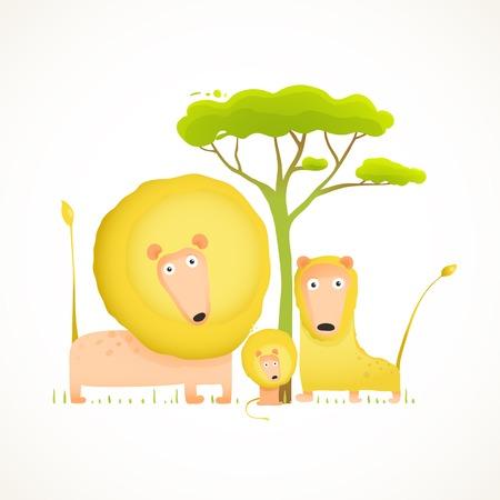 leon bebe: La historieta divertida Retrato Leones familia. Colores brillantes animales padres y el beb�. Ilustraci�n vectorial EPS10.