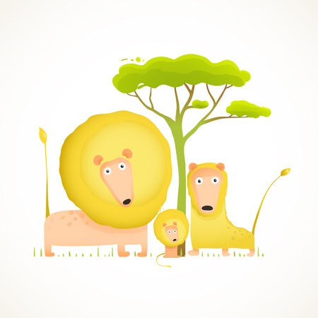 Lions-Familien-Porträt-lustige Cartoon. Farbenfrohe Tiere Eltern und Baby. Vektor-Illustration EPS10. Standard-Bild - 35957224