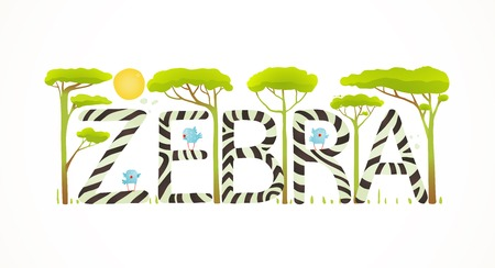 brightly: African Zebra Animals Fun Lettering Cartoon. Brightly colored childish cartoon sign. Vector illustration EPS10 Illustration