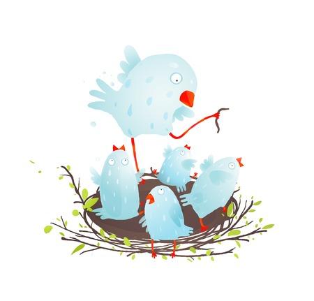 Mother Bird in Nest Feeding her Babies. Birdies in nest eating and feeding. Vector illustration EPS10.