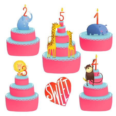 Happy Birthday Cakes Collection with Animals and Lettering. Colorful sweeties with holiday childish candles. Vector