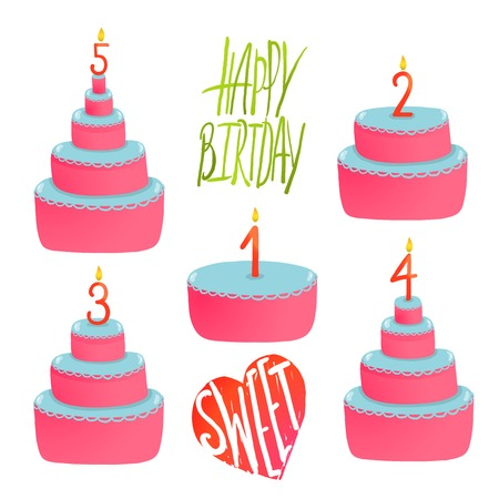 Happy Birthday Cakes Collection with Numbers and Lettering. Colorful sweeties with holiday candles.