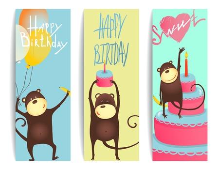 congratulating: Monkey Fun Cards with Birthday Lettering. Congratulating cheerful monkey flyers. Vector illustration EPS10.