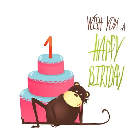 Monkey Cake One Years Old with Happy Birthday Lettering. Funny monkey lying with cake. Vector illustration EPS10. Vector