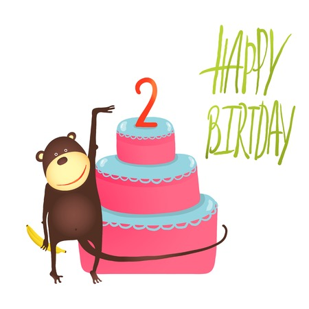 Monkey Cake Two Years Old with Happy Birthday Lettering. Funny monkey standing with cake.  Vector