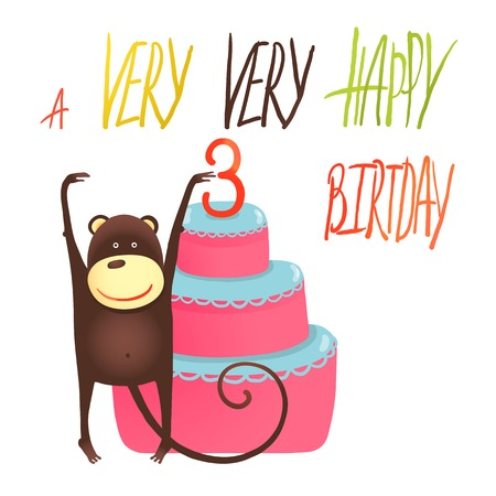 Monkey Cake Three Years Old with Happy Birthday Greetings. Funny monkey standing with cake. Vector illustration EPS10.