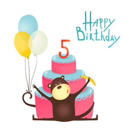 baloons: Monkey Congratulating Five Years Old with Happy Birthday Lettering. Funny monkey greetings with baloons and cake.