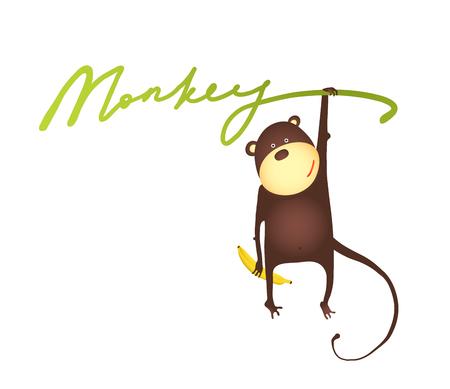 platano caricatura: Mono que cuelga en la vid con plátano letras de dibujos animados. Jugar mono divertido que cuelga en muestra. Ilustración vectorial EPS10.