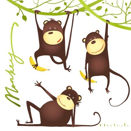 animaux zoo: Singe Fun Cartoon Hanging sur Vigne avec Banana. Jouer et montrant pose singe amusant.