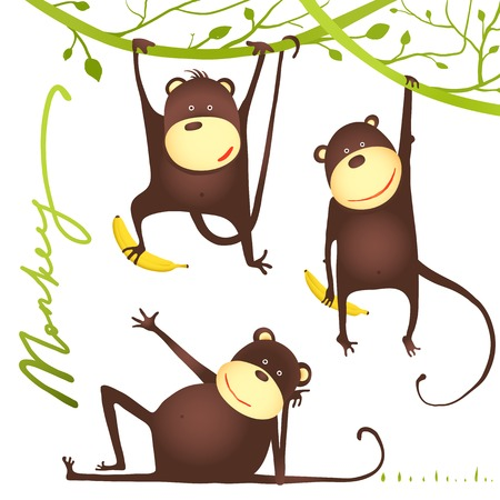 Monkey Fun Cartoon Hanging on Vine with Banana. Playing and showing poses amusing monkey.