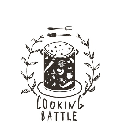 cosy: Cooking Battle Sign with Laurel and Label Monochrome Design  Black and white illustration for cooking event. Vector EPS10.