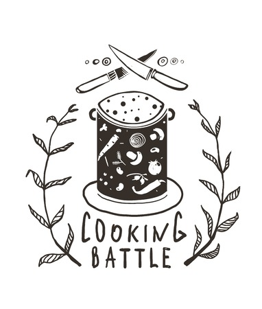 Cooking Battle Sign and  Label Monochrome Design One color print illustration for kitchen event.