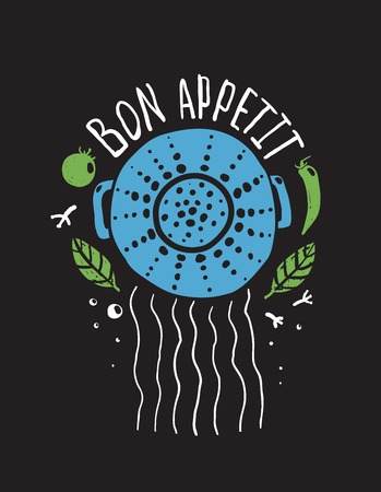 bon: Bon Appetit Pasta Design with Colander and Lettering Colored on Black  Food and kitchen label for pasta. Vector illustration EPS10.