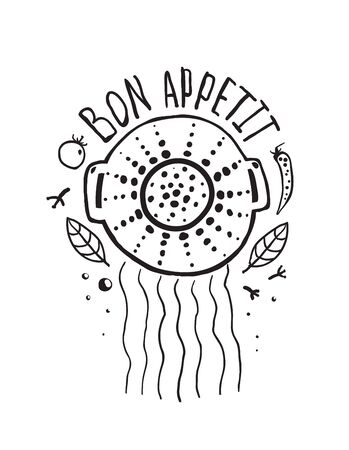 Bon Appetit Pasta Design with Colander and Lettering Monochrome  Food and kitchen label for pasta. Vector illustration EPS10.