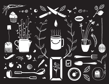 tea cosy: Kitchen Food and Drinking Tea Cosy Design Elements on Black  Eat and Drink black and white rustic objects collection. Vector EPS10. Illustration