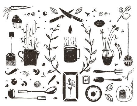 キッチンの食品や白、食べると飲むの黒と白の素朴なオブジェクト コレクションに居心地の良いお茶デザイン要素を飲みます。ベクトル EPS10。