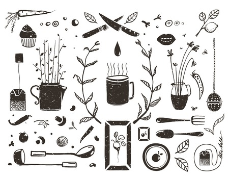 Kitchen Food and Drinking Tea Cosy Design Elements on White Eat and Drink black and white rustic objects collection. Vector EPS10.